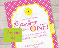 printable invitations lemonade and sunshine 1st birthday party