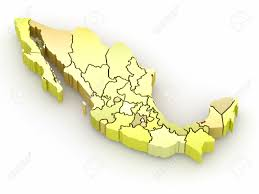 Mexico On Map Three Dimensional Map Of Mexico On White Isolated Background