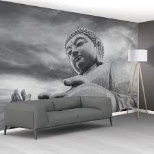 1wall black and white buddha statue zen mural wallpaper 366cm x 1wall black and white buddha statue zen mural wallpaper 366cm x 253cm