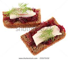 canapé toast canape herring beets on rye toast stock photo 233173132