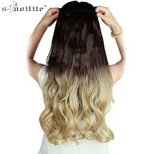 ombre hair extensions clip in snoilite 23 inch curly synthetic ombre hair extension 5 in