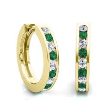 gold diamond hoop earrings channel set emerald and diamond hoop earrings in 14k gold hoops