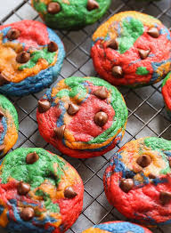 rainbow chocolate chip cookies cookies and cups