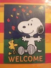 peanuts large snoopy woodstock welcome fall autumn flag 28 x 40