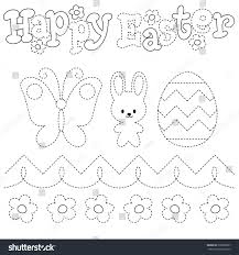 coloring draw on points happy easter stock vector 390985897