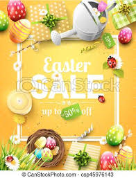 easter egg sale easter sale flyer with flowers easter eggs and watering can eps