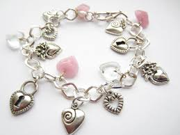 bracelet with hearts images Silver charm bracelet hearts charm bracelet pink hearts silver jpg