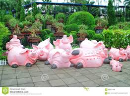 pig statue in garden stock image image of image 59284459