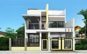 Two Story Small House Plans Prosperito Single Attached Two Story House Design With Roof Deck