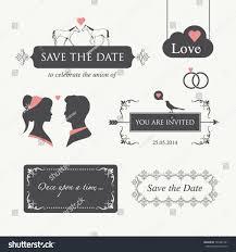 Editable Wedding Invitation Cards Set Wedding Design Illustration Elements Ornaments Stock Vector