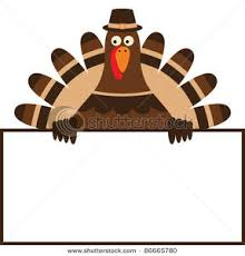 image thanksgiving turkey holding up a blank sign