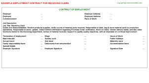 Receiving Clerk Job Description Resume by Receiving Clerk Employment Contract