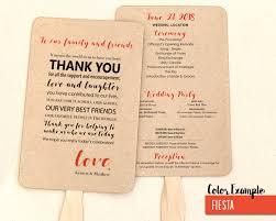 wedding program fan templates thank you message wedding program fan warm colors