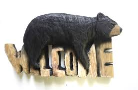 Black Bear Decorations Home Bear Welcome Sign Chainsaw Carving Wood Carving Handmade