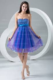 purple blue cocktail dresses strapless sweetheart color beads