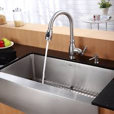 stainless steel kitchen sink combination kraususa com kraus 36 inch farmhouse single bowl stainless steel kitchen sink with kitchen faucet soap dispenser