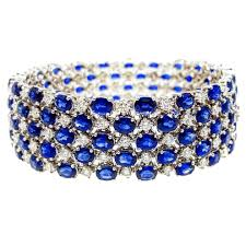 bracelet diamond sapphire images 9 carat diamond sapphire three row white gold bracelet for sale at jpg