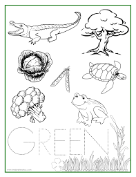 color green coloring pages kids coloring