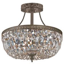 Crystal Chandelier Canada Traditional Crystal Antique Brass Semi Flush Ceiling Mount