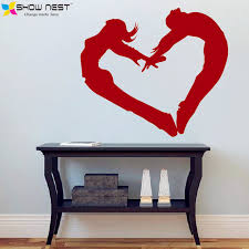 Heart Wall Stickers For Bedrooms Dance Art Heart Wall Decal Dance Studio Wall And Window Vinyl
