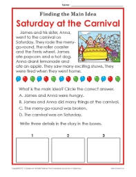 1st or 2nd grade main idea worksheet about carnivals main idea