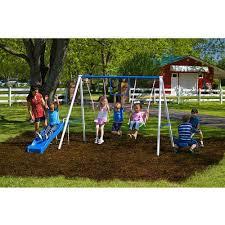 Kids Backyard Play Set by Playground Metal Swing Set Outdoor Play Slide Kids Backyard
