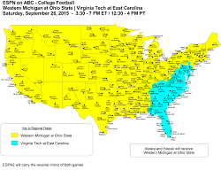 Ohio State Map by College Football Week 4 Tv Schedule With Osu Coverage Map