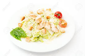classical cuisine the caesar salad prepared on the classical recipe on white stock