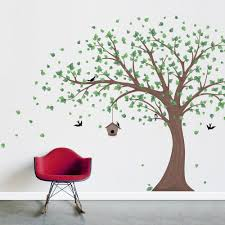 printed windy tree with birdhouse wall decal large printed birdhouse windy tree wall decal