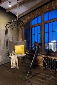 modern industrial loft apartment in ukraine hanging chair lofts