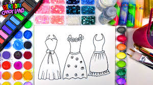 Color And Paint Coloring Page Of Beautiful Dresses To Color With Watercolor For