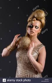 Beauty Garde Blonde Avant Garde Creative Make Up Gold Spheres Sequin Glitter