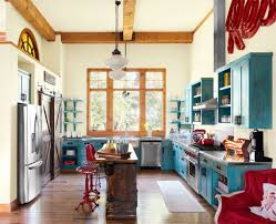 red yellow and turquoise kitchen