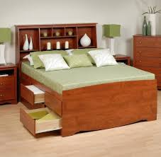 Bed With Headboard And Drawers Bedroom Brown Stained Wood Queen Size Storage Bed With Bookcase