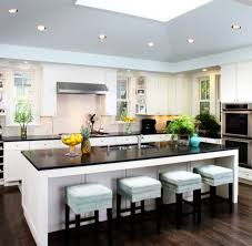 White Kitchen Islands With Seating Interior Kitchen White Rectangle Island With Modern High Stools On