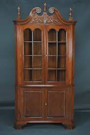 furniture brown wooden hutch carved cabinet with shelf and glass