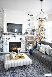 christmas home tour living room with blue white and gold