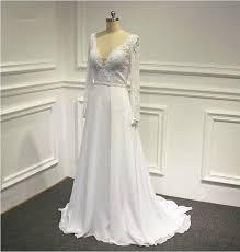 deep v neck long sleeve lace beach wedding dresses a line