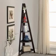 espresso corner ladder bookcase with five shelves free shipping