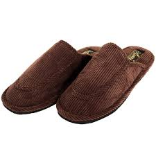 mens slippers open back house shoe corduroy slip on scuff comfort