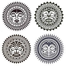 set of polynesian styled masks vector illustration