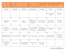 example monthly meal plan and links to recipes mealplanning