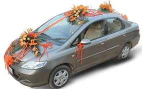 car ribbon hondacity decoration with orange ribbon gift