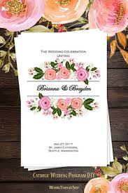 church programs for wedding catholic church wedding program order of service templates