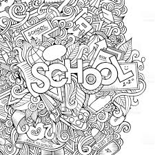 cartoon hand lettering and doodles elements background