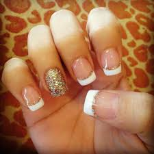 nail art white french manicure designs with silver tip design