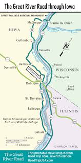 Illinois Road Map by The Great River Road Road Trip Usa