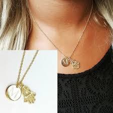 monogram disc necklace mini engraved monogram disc necklace with hamsa of god