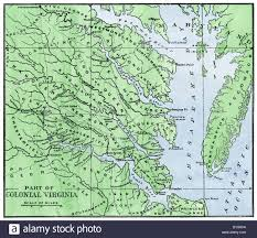 colonial map map of the eastern part of colonial virginia 1700s stock photo