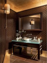bathroom appealing dark wall decor with wood table powder room
